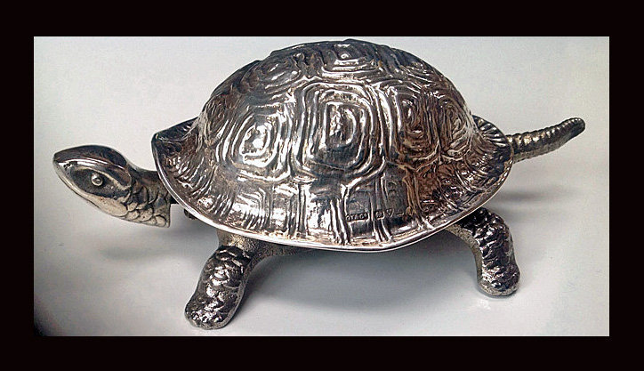 Silver Tortoise Turtle  table Bell Chester 1912