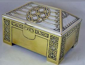WMF Jugendstil Secessionist silver brass Box, Germany
