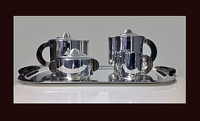 French Ercuis Art Deco silver rosewood Tea & Coffee Set