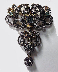18th century Georgian Emerald Diamond Brooch, Portugal
