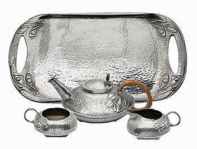 Archibald Knox Liberty Tea Set and Tray C.1906