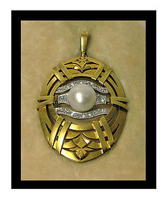 18K Platinum Pearl Diamond Pendant H Stromdahl Sweden