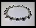 Margot De Taxco Sterling Silver Amethyst Necklace, C.19