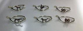 Rare set of 6 Animal Serviette Rings, Birmingham 1920,