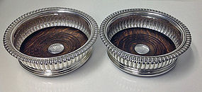 Georgian Silver Wine Coasters Sheffield 1825 J.Watson