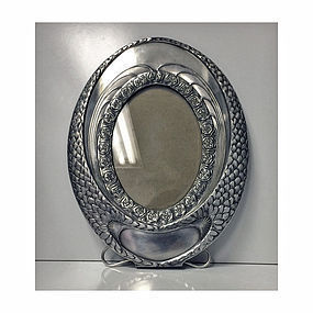 W.M.F Art Nouveau Silver Plate large oval Frame, German