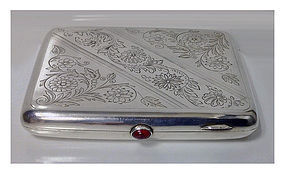 Russian Silver cigarette case, Yu. H. A, Moscow 1927-54