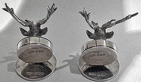 Asprey English silver stag menu place card holders, London 1925.
