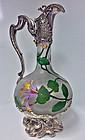 Art Nouveau WMF Glass hand painted Claret Jug, C.1900