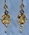 Pair of Imperial Topaz, Pearl, Diamond 15K Earrings English C.1890