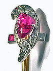 Tiffany Platinum Ruby and Diamond Parrot on gold stickpin, C.1940