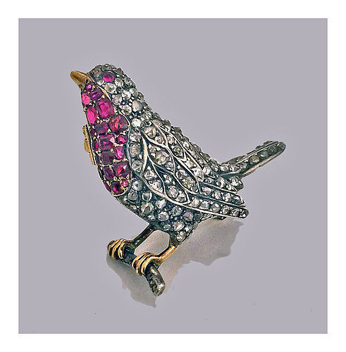 Antique Diamond and Ruby Bird Brooch Pin, English C.1890