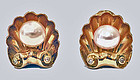 1940's 18K cultured Pearl and Diamond Earrings