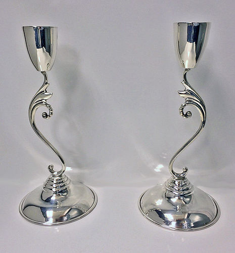 Pair of mid century Sterling silver Candlesticks Mexico C.1960 Perlita