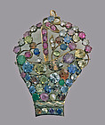 Large period Jardiniere Gemstone and Gold Brooch Pendant, C.1930