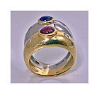 18K Sapphire Ruby Diamond two color gold double band Ring Ming's C1970
