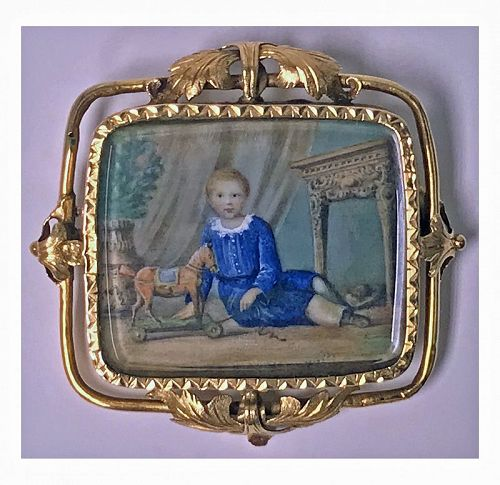 Swiss Gold Portrait Miniature C.1800 attributed Anton Graff.