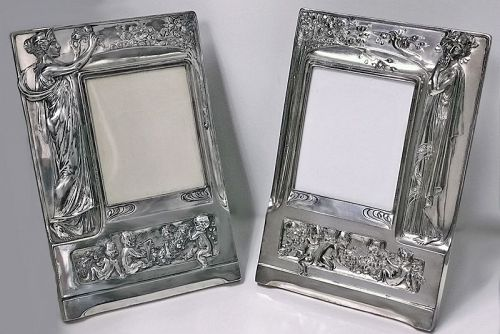 Pair of Art Nouveau large Silver Plate Photograph Frames, Germany C.19