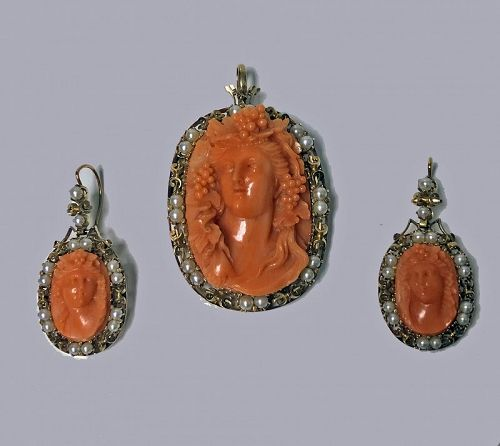 Fine Antique Carved Coral Pendant Brooch and Earrings C.1880