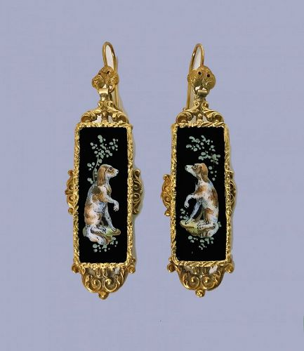 Pair of Antique 18K Enamel `Spaniel� Earrings, Continental, C.1875