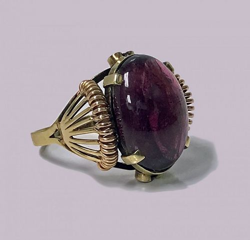 Austrian 14K pink and yellow gold Pink Tourmaline Ring, C.1930