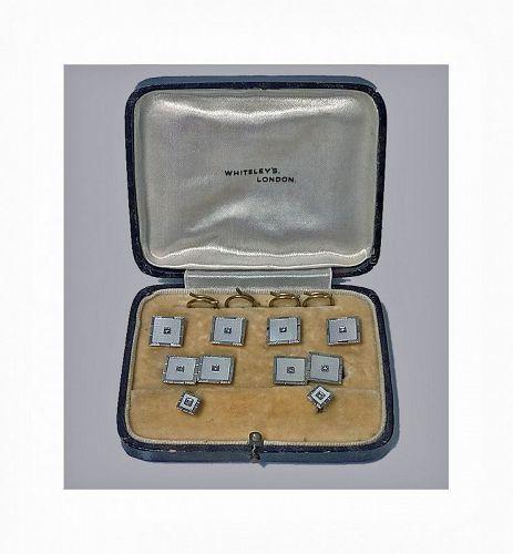 Cufflinks Tuxedo Dress Set 18K Diamond Mother of Pearl, English C.1930