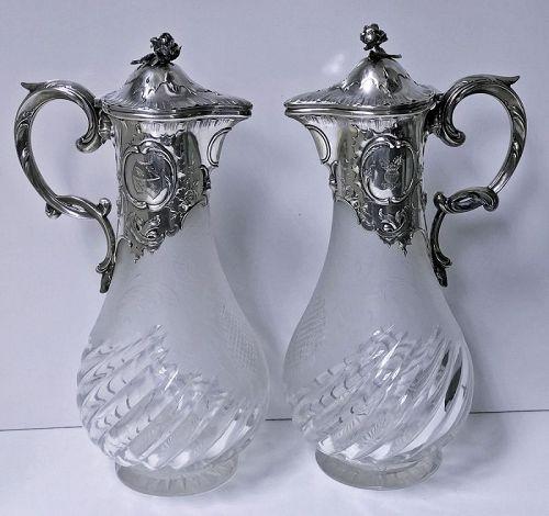 Pair of Art Nouveau Silver Glass Claret Jugs, Germany C.1900 Wilhelm B