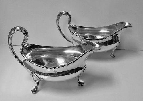 Georgian Silver Sauceboats, London 1793, John Wakelin and Robert Garra