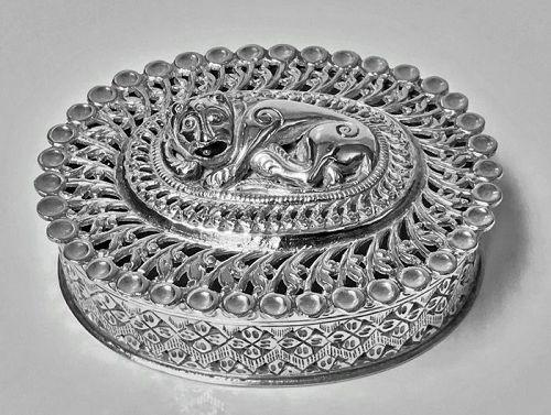 Rare Silver Foo Lion Dog Jewellery Trinket or Scents Box, C. 1920