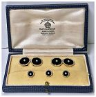14K Gold, black Onyx and Pearl Cufflink Tuxedo Stud set C.1920