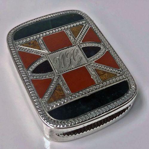 Silver `Scottish Market� Puzzle Agate Vesta Case, Chester 1891 J W Kir