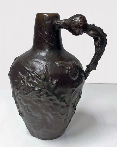French Art Nouveau Bronze Jug Vase Jeanne Jozon (1868-1946)