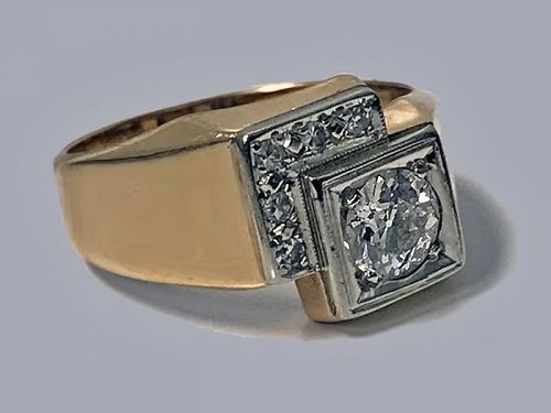 1970's Gold Diamond square Ring
