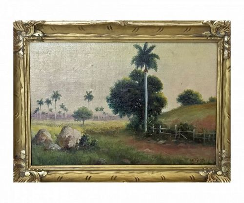 Juan Gil Garcia (Cuban, 1879-1930) Landscape with Palms Oil on Canvas