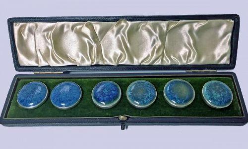 A E Jones Set Silver Ruskin Buttons Birmingham 1903