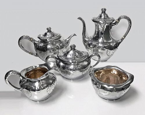 Gorham Sterling Art Nouveau Arts and Crafts hammered Tea and Coffee Se