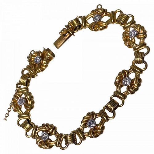 Antique 18K Diamond Bracelet, probably French C.1900