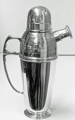Art Deco Sterling Silver Cocktail Shaker, Birmingham 1913 Pearce & Son