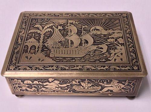 Art Deco Exotic Brass Jewellery Box, Germany, circa 1920