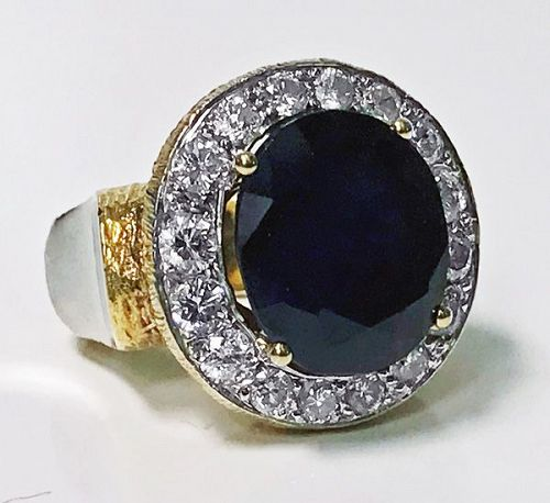 Large 18 Karat Diamond and Blue Stone Ring