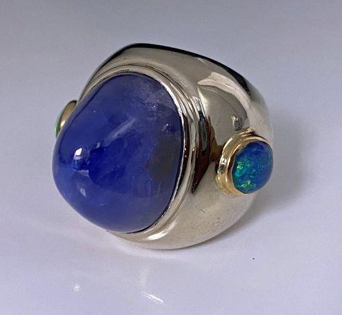Gold Sapphire Opal Custom Ring, circa 1970