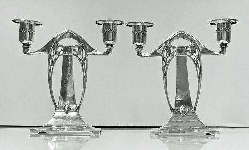WMF Art Nouveau Jugendstil Secessionist Candlesticks Candelabra, Germa