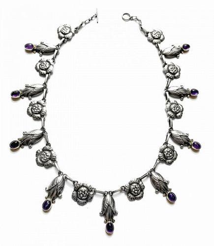 Georg Jensen rare design Sterling Amethyst Necklace C.1930 design No 6