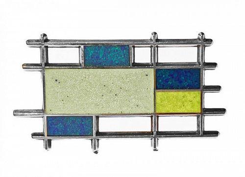 Georg Jensen Sterling Silver Enamel abstract Brooch Denmark C.1960