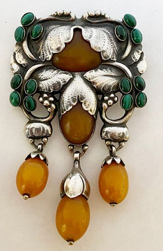 Exceptional Georg Jensen Large Rare Silver and Amber Malachite Master