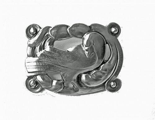 Early Georg Jensen Silver Dove Brooch Denmark C.1925