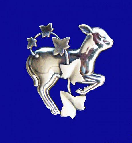 Georg Jensen Leaping Lamb Brooch. Designed by Arno Malinowski