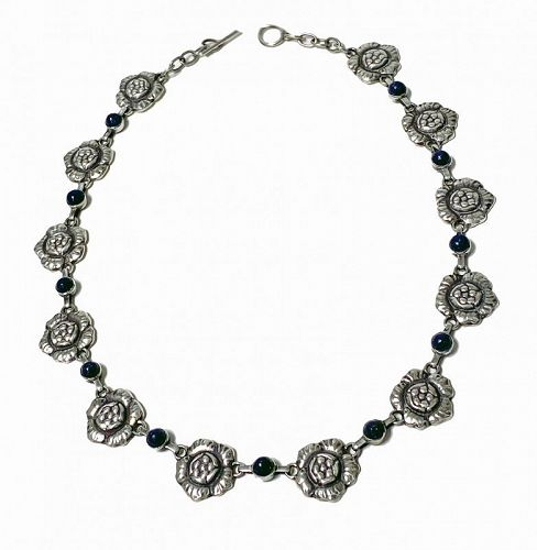 Georg Jensen Sterling and Lapis Necklace No. 5 Denmark C.1935