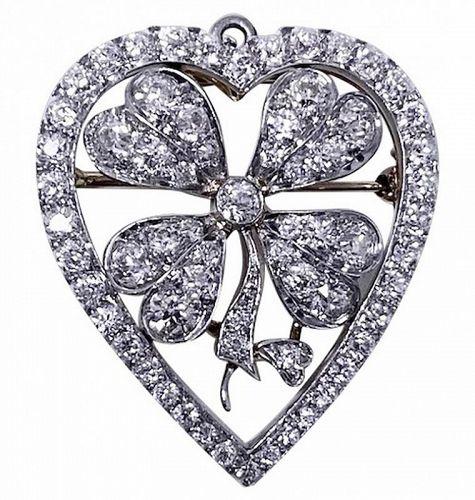 Diamond Clover Heart Brooch Pendant Platinum and 18K C.1930.