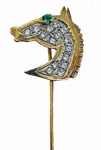 Gold Diamond Emerald Horse Stickpin, 20th century.